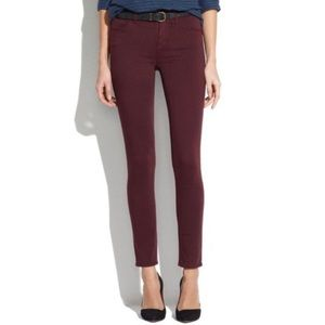 Madewell Skinny Skinny Sateen Maroon Jeans Size 24